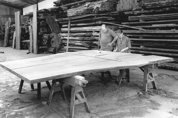 Mira Nakashima designing the Peace Table