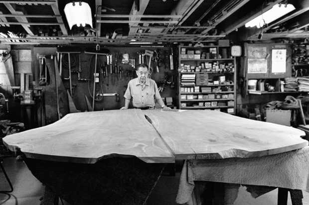 George Nakashima in 1986, taken with the Peace Altar Table in the workshop