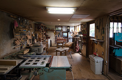 A glimpse inside the main workshop of Japanese Woodworker Eiji Hagiwara.