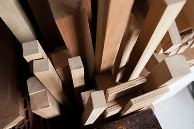 Wood ready to be used at the Fujii Workshop.