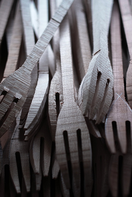 Fork blanks that will later be hand shaped by Hiroyuki Sugawara