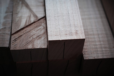 A selection of lumber in Hiroyuki Sugawara's studio