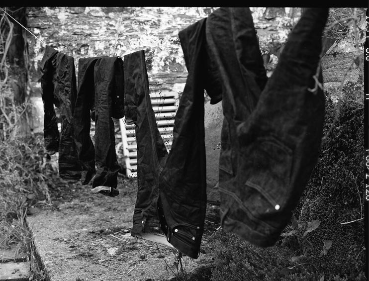 A look at the denim hanging up to dry, from the Hiut Denim Lookbook shot by San Francisco based photographer Andrew Paynte