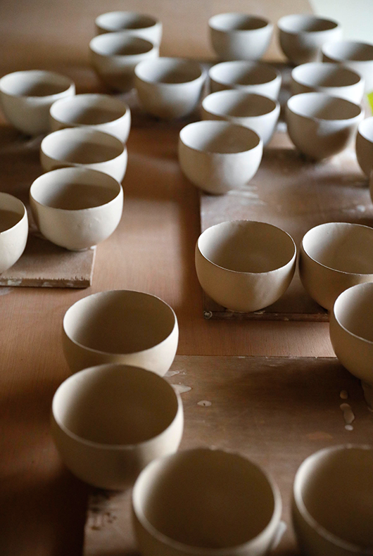 Makoto Asebi's coffee cups waiting to be fired at his studio in Kamakura, Japan.