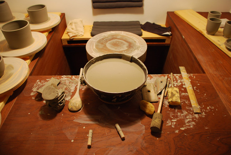 A look at potter Matthias Kaiser's studio wheel and utensils in Vienna, Austria.