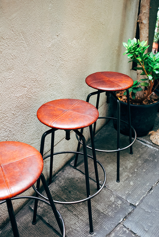 Stools handmade for Bird Coffee by TRUCK Furniture.