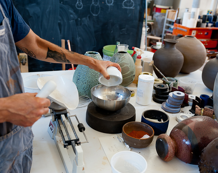 Mixing the ingredients to make a glaze with Adam Silverman