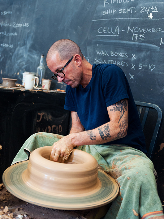 Adam Silverman on the pottery wheel