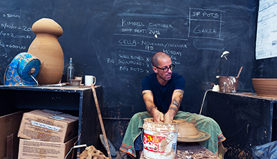 Adam Silverman at his studio in Los Angeles