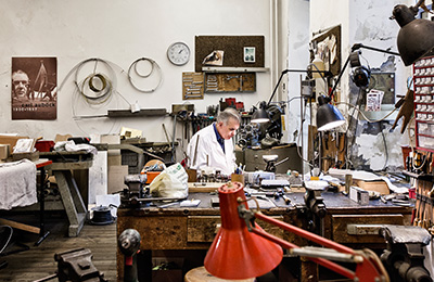 Carl Aubock IV at his studio in Vienna, Austria.