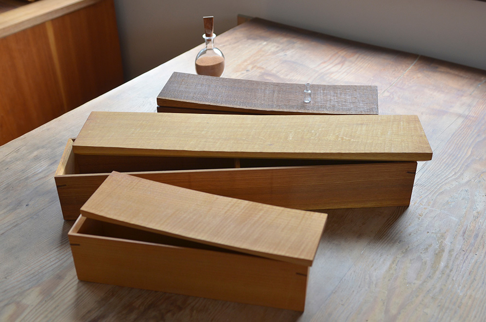 A selection of chopstick boxes made from cherry and walnut. We stock the Walnut Chopstick Box at OEN Shop.