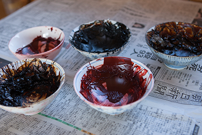 In Minako's area she applies the lacquer and finished to the woodwork. Here are the different types of urushi she applies to the surface of the objects.