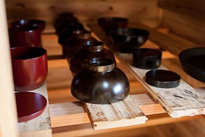 A selection of lacquer bowls by Fujii Works at their workshop in Hyogo Prefecture.