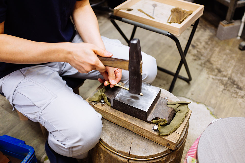 Rieko Fujimoto crafting at her workshop in Neyagawa, Osaka, Japan.