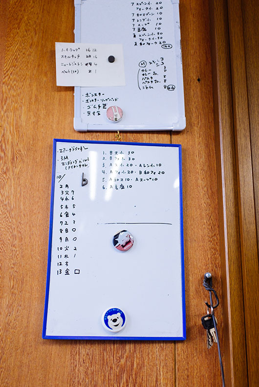 The board Rieko uses to plan her orders and is needed to be made.