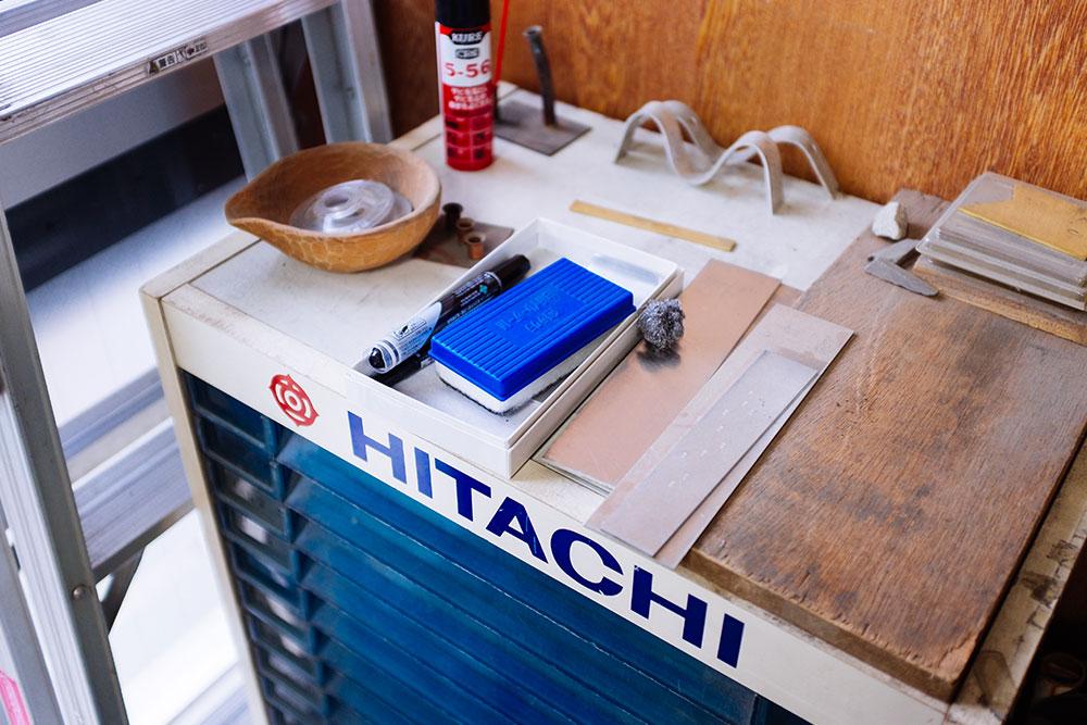 Metal and a tool box inside Rieko FUjimoto's Studio
