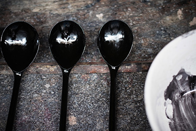 A black lacquer spoon, the shine will slowly dull and become a lovely matte shade of black.