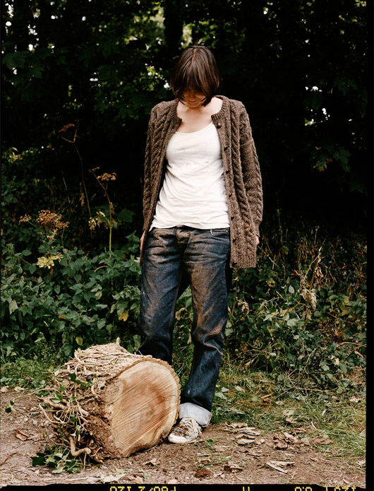 Model wearing Hiut Denim Jeans, photographed by Andrew Paynter