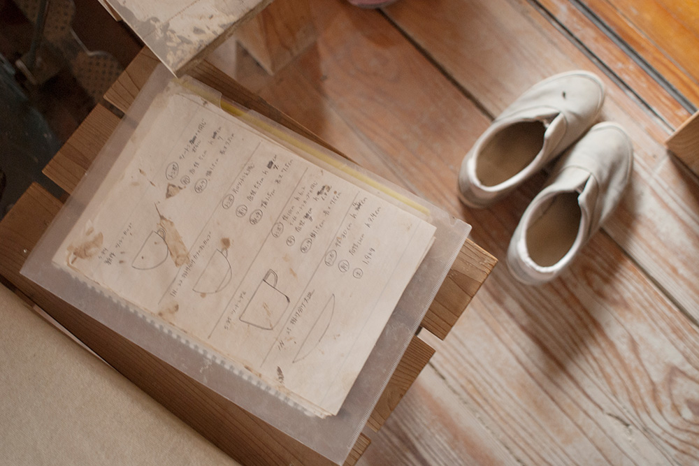 Satoko uses her sketchbook to plan out what she needs to produce throughout the day.