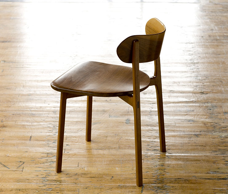 C02 - dining chair with bent wood back. Shown in black walnut.
