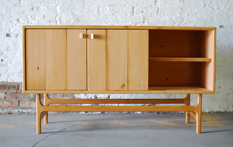 ST04 - sideboard / media cabinet. Reclaimed douglas fir and hand shaped Corian door pulls.