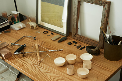 Tools and objects inside the studio of Japanese metalworker Naho Kamada.
