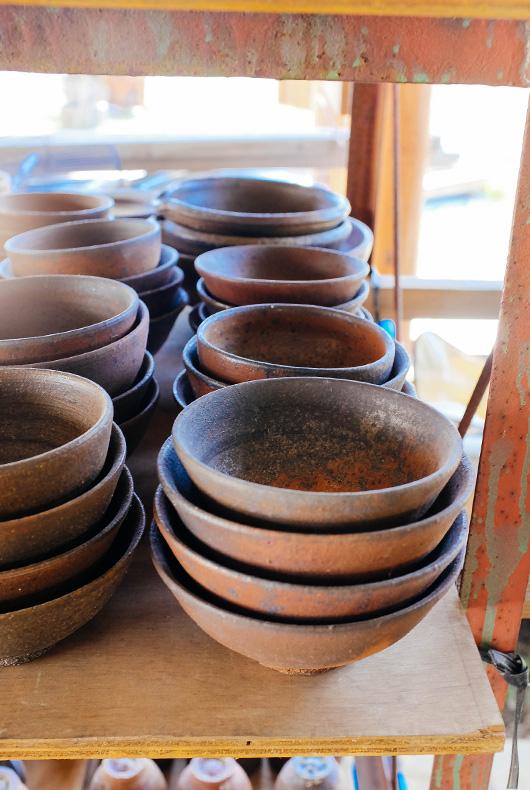Pottery inside the studio of Keiji Tanaka