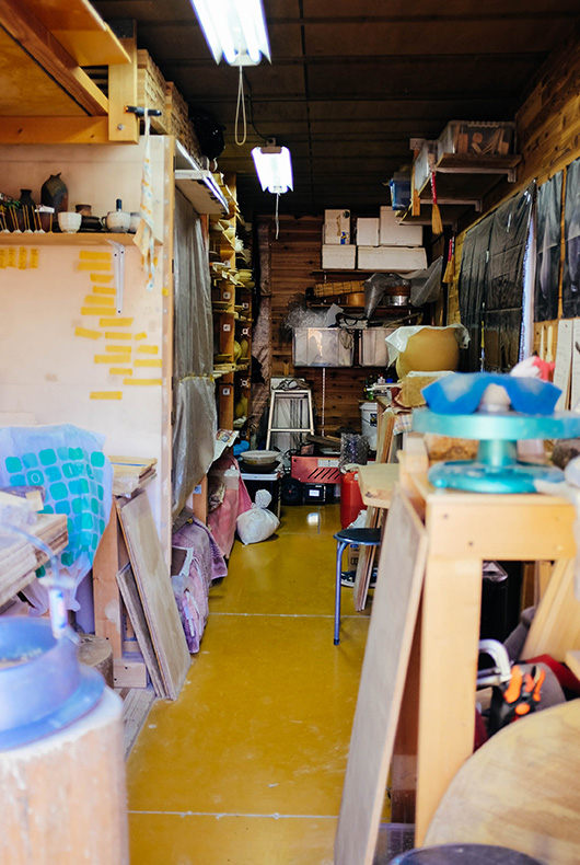 Keiji Tanaka's pottery studio.