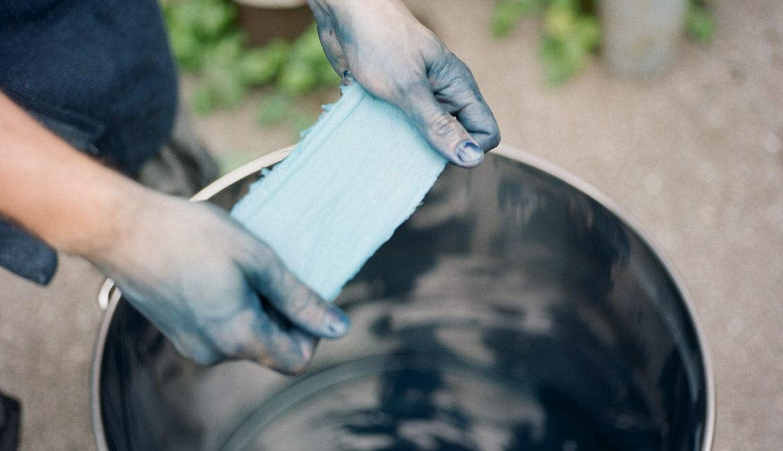Dip-Dyeing in Indigo, Metsa Clothing