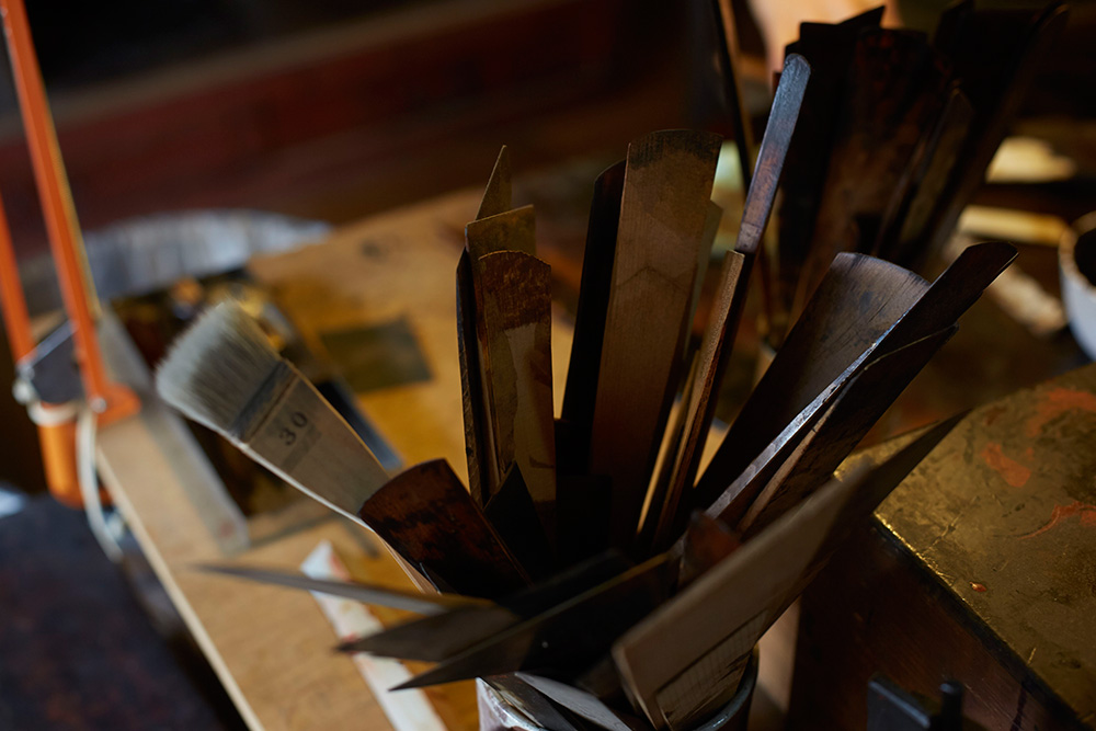 A selection of brushes inside his studio.