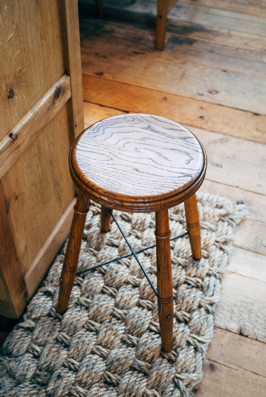 Handmade stools using both metal and wood.