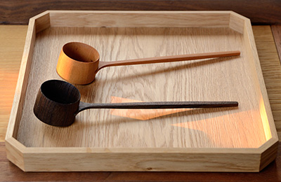The finished coffee scoop, this new design minimises wood loss and is easier to hold in the hand.