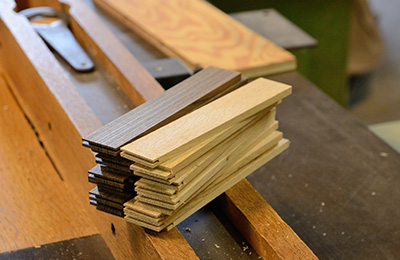 A series of blanks in cherry and walnut, these will be used to product the handles for the spoon.